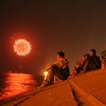 River fireworks right across from River-view Hotel. Phnom Penh, Cambodia
