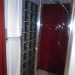                    Shower room with glass wall and glass door - limited privacy