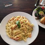 Salmon & dill fusilli pasta & deep fried Brie wedges. All very delicious!