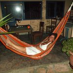 Susie relaxing in the hammock at Nondas