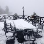 snow covered tables!