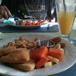 Belizian breakfast with fresh fruit & fresh squeezed O j