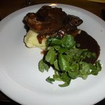 Lamb with mash and vegetables (in a side bowl)