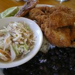                    Casado (standard Costa Rican dish of rice and beans) with fried Dorado