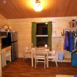 Kitchen/Dining/Storage/Main area (futon and TV area is where