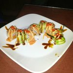 Spicy red dragon roll with salmon