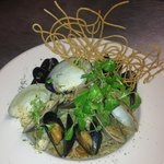 Steamed Local Mussels, Clams & Scallops over Cappellinni w/ Mache