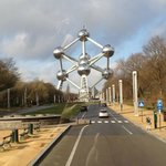                    approaching Atomium