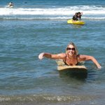 MY MOM SURFING!