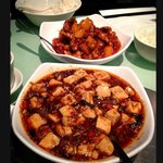 Mapo Tofu (spicy minced beef with tofu) and Sweet & Sour Pork with pineapples