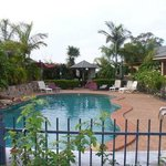 A heated pool, with a hot tub, in a great setting....