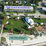  An aerial view of Park Place in Cedar Key and the city park and beach