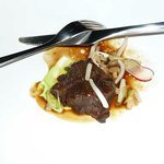                                      Braised ox cheek, smoked parslet emulsion, pickled vegetable