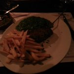 pepper steak with fries and spinach