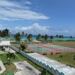 View from our room's balcony! Never saw anyone using the tennis courts!