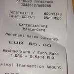 Our receipt for our stay- its quite affordable considering its Europe