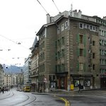                    Hotel St-Gervais on the right - convenient to main street