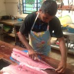                                      Preparing Dogtooth Tuna for dinner