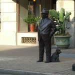                    Bronze statue of Mr. Brown and his little dog, outside the Brown Hotel