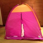 Indoor campout package for kids.  Small featherbed inside.