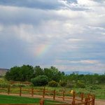 A rainbow in the distance on our walk to the stables