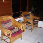                    Comfy armchairs on our balcony