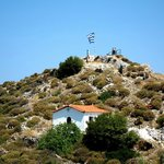 the top of Kastro with Greek flag
