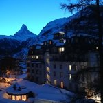                    Das Matterhorn am Abend, Ausblick von Zimmer Nr.1