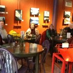 A cozy place to dine, cht with friends and view art and photography exhibits