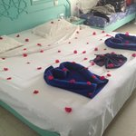 decorated bed by cleaners
