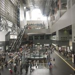 Inside main entrance of Kyoto Train Station - it's a very cool place, with lots of shops and eat