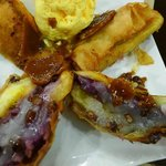 Dessert is Turon KC.Bananas, purple yam jam, sweet coconut strips, monggo bean