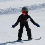                    My 7-year-old snowboarding for the first time!