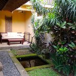                    patio in front of private villa surrounded by walls