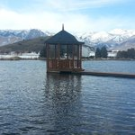                   The Gazebo on the lake.  Table and Chairs inside.