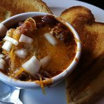                   Cup of Chili and Grilled Cheese Sandwich