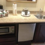 Separate alcove with coffee, microwave,