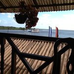View from the restaurant of the Cocibolca Lake, the ferry leaving San Carlos