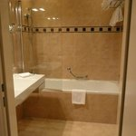  Huge tiled bathroom with towel warmer