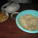 Potato curry with rice and chapatis (all you can eat chapatis)