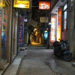 Late night shot of one of the laneways that runs off the Main Bazaar