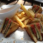 mozzarella, tomato and basil pesto club sandwich