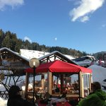                    Pizzeria round the side with views up the slopes