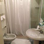 Bathroom in 609.  Heated towel rack and shower with massage jets.