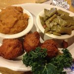 sweet tater soufflé, Italian green beans, hush puppies