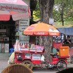 Mobile beverage and snack vendor across th