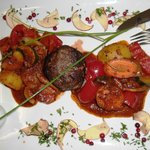 Elk cutlet with ratatouille and bouillon