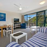 3 bedroom living and dining with views over Caloundra Pumicestone Passage