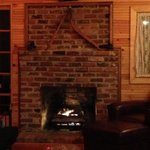                    The fireplace in the living room of the Firefly Cabin