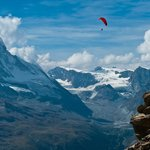 Matterhorn view with paraglider at Rothorn